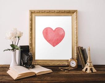Minimalist poster, Minimalist art, Minimalist living, Wall art, Home decor, Red heart print, Love print, Modern art, Girlfriend gift, BD-146