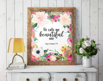Nursery decor, Baby girl nursery, Girl nursery art, Girl nursery decor, Gift for girlfriend, Wall art, Song of Solomon, Beautiful one, 311
