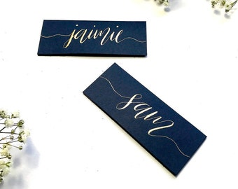 Navy blue name cards, calligraphy, copper, gold, rose, wedding, table decor