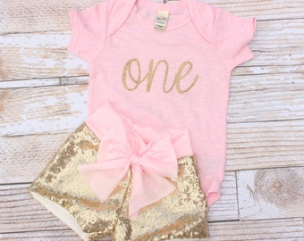 Girls First Birthday Outfit, Pink birthday Outfit, Gold birthday Outfit, Baby Girl Clothes, First Birthday Outfit, First Birthday Shirt,