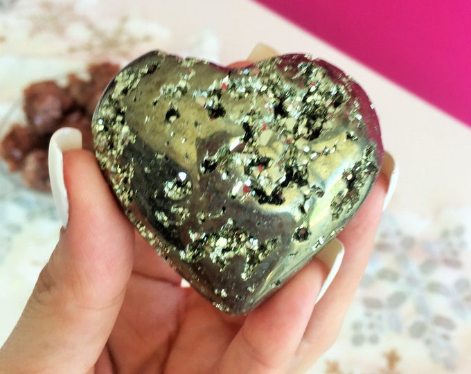 Pyrite Crystal Stone HEART infused w/ Reiki, Healing Crystals and Stones