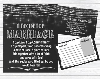 Recipe for Marriage cards, instructions and ingredients for happy marriage, 3 designs, fill out a recipe for a happy marriage sign WEDRDM01
