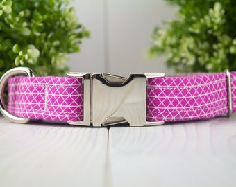 Magenta adjustable Dog Collar with Metal Buckle