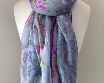 Blue infinity scarf with purple borders and purple flowers and bows - Long, rectangle, light weight, loop Scarf for spring and summer