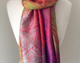 Multicolor Long Silk Summer Scarf with pink and purple color flower pattern - Silk Infinity scarf for spring and fall, lightweight scarf