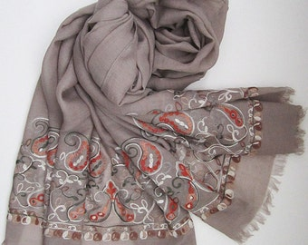 Taupe scarf with embroidered paisley patterns - Long and light weight embroidery scarf for spring, summer and fall