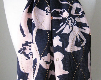 Navy Blue and Light Pink Flower Silk Scarf with Securely Ironed-on Sparkling Jewels - gift for her, light weight scarf bandana