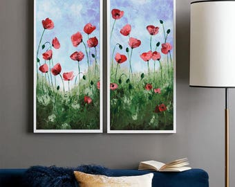 """Poppy painting, Palette knife Floral art, Abstract Flower, California Red poppies, Impasto Texture Landscape Modern wall art, 24"""""""
