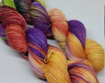 Spring Fire - Sparkle Sock Yarn - Superwash Merino + Nylon + Stellina - 75/20/5 - Ready to Ship