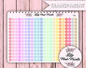 Transparent Pastel Dots - Small T-21/Medium T-22/Large T-23 Stickers-Perfect for Erin Condren Planner Stickers / Life Planners / Journals.