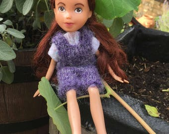 Back to Natural Doll No.32 recycled, OOAK, hand painted, hand knitted, and clothed. Made Down