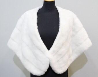 White fur bridal wrap,Fur stole,Wedding stole,Fur big stole,Mink stole,Fur shawl,Woman fur wrap,Large shawl,норка манто,накидка F483