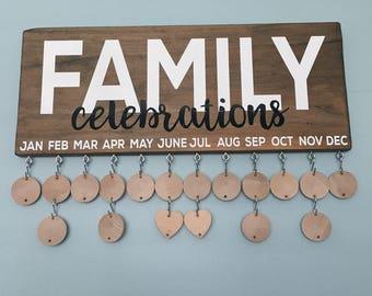 Handmade Family Celebrations Board, Family Birthday Board, Family Birthday Calendar, Celebration Board, Wall Calendar