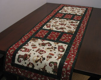 Santa and friends tablerunner,  FREE SHIPPING