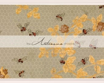 Honey Bees Comb Bee Antique Vintage Wallpaper Art Design Image - Digital Download Printable Image - Paper Crafts Scrapbooking Altered Art