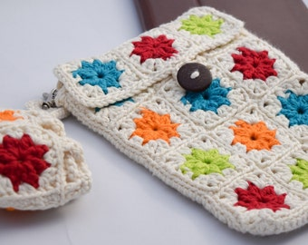 Tablet Case, Crocheted Granny Square Sleeve for iPad Mini with Earbud Storage, 8 inch Tablet Pouch, Soft Cotton Cozy in Custom Colors