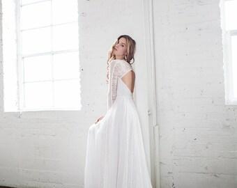 Long Sleeve Lace Wedding Dress, Bohemian Wedding Dress, Geometric Wedding Dress, Unique Wedding Dress, Romantic Wedding Dress - Rio Dress