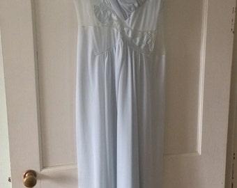 Pale Blue 1970s Vintage Gown - Size 36 M Medium L Large Munsingwear Sheer Midriff Applique Details