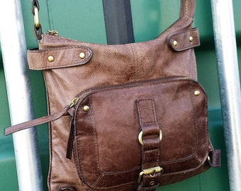 Brown Leather cross body satchel messenger bag, Leather messenger bag, Jones the bootmaker brown leather messenger, , jones messenger purse