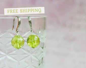 Green quartz earrings, Green earrings, Olive earrings, Olive green earrings, Light green earrings
