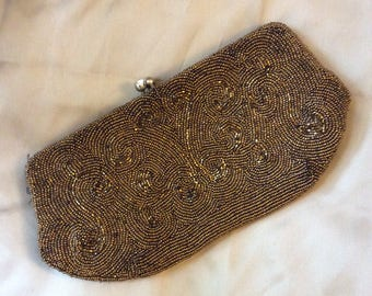 Sassyweddingboutique/gold beaded clutch/vintage/evening bag/ gold/ beaded purse/ holiday/clutch/purse/holiday purse