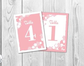 Pink & White Vintage Flowers Wedding Table Number Signs 1-10 Instant Printable Digital Download