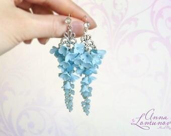 Flower long earrings Light Blue Earrings Blue long earrings Floral long earrings Sky Blue Earrings Blue Flower Jewelry Girlfriend gift