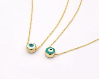 Small evil eye necklace gold evil eye jewelry gift for gold necklace with turquoise or white evil eye gold evil eye jewelry white evil aloadofball Gallery