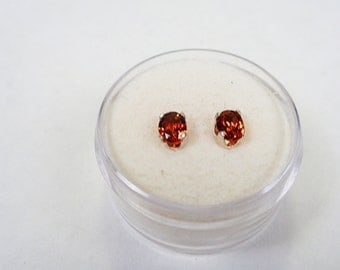 Spessartite posts.  Natural 5 x 3mm. Spessartite Garnet Stud Earrings in Silver.