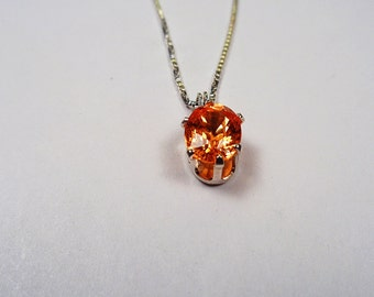 Quality 2.53ct. Natural Mandarin Garnet 9 x 7mm. Oval Silver Pendant.
