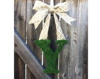 Spring door hanger, spring wreath for front door, front door hanger, burlap spring wreath, monogram front door wreath, spring decorations