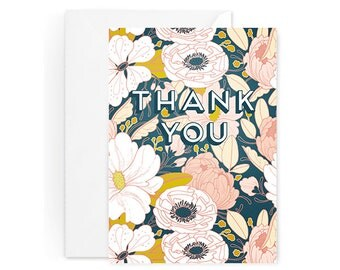 Thank You Card - Flora Thank You Card - Single Card - Night Floral Thank You Card Blank Inside