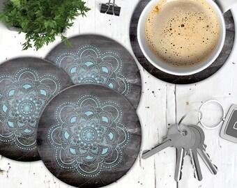 Chalkboard Mandala Coasters, Chalkboard Coaster, Housewarming Gift, Boho Chic Coasters