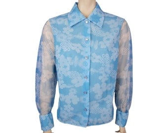 Vintage St Michael Blouse 60s Made in UK Floral Pointed Collar Sheer Sleeves Blue UK 14