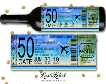 Airplane Air Flight Plane Ticket Boarding Pass Vacation Wine Bottle Label Valentines Birthday Anniversary Beach Destination Gift #Air2