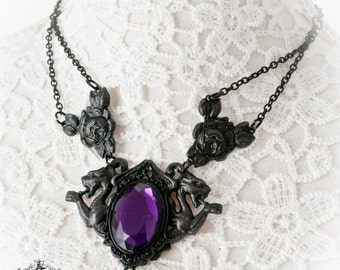 Double Gargoyle  black gothic pendant-gothic necklace-gothic jewelry