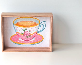 English Teacup Embroidery Pattern PDF Download Baroque Cubicle Decor Modern Cross Stitch Floral Teacup Gift Afternoon Tea Lover Present