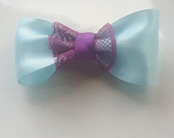 Hair Bow Clip - Aqua Satin with Mauve Lace Trimming