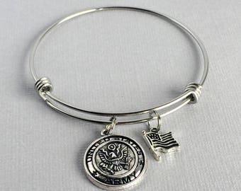 Army Charm Bangle, Army Bracelet, American Flag Charm, Gift for Army Wife, Army Jewelry, US Army, MIL003