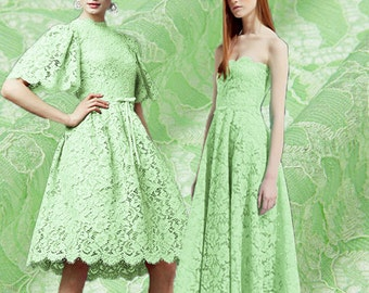 Mint Green Lace Fabric By The Yard Double Layer Floral Lace Fabric Jacquard Flower Lace Evening Dress Fabric Women Clothing Fabric-CHAHUA