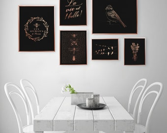 SET of 6 Prints, Provence Prints, Botanical Poster, Bedroom Decor, Rose Gold Foil Print, Home Decor, Provence Wall Art, Vintage Prints,
