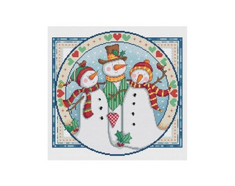 Snowman Trio - Durene J Cross Stitch Pattern