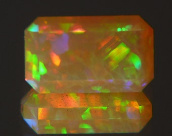 Loose Ethiopian Welo Opal faceted gemstone Welo Opal crystal Gem-grade precious Ethiopian Wello opal jewelry Videos Available