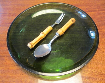 Vintage six-pieces Set of three Desert Spoons and three Desert Forks - Stainless Stell  blades with Bamboo Handles - 1960s