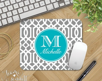 Lattice Monogrammed Mousepad - Geometric Pattern Personalized Mouse Pad with Initials - Trendy Custom Home Office Decor - Preppy Gift