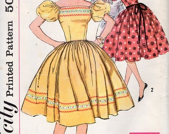 Simplicity 3298 Gidget ric rac Puffy Sleeve Party Dress Uncut Size 16 Bust 36 Uncut Free Us Ship Vintage Retro 1960's 60's Sewing Pattern