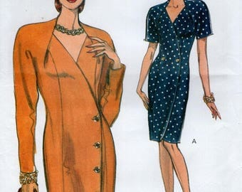 Free Us Ship Sewing Pattern Vogue 8157 Retro 1990s 90's Very Easy Double Breasted Dress Size 8 10 12 Bust 31.5 32.5 34 Uncut