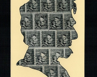 FREE SHIPPING ; Abraham Lincoln  - Unique hand-made collage from black US cancelled vintage postage stamps .