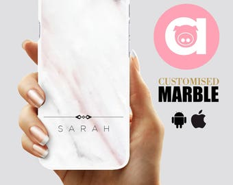 Marble Phone Case - Personalised marble - White/Pink Marble iPhone 6S case - iPhone 7, 6Plus, 5C, 5S, SE Personalized Galaxy S5,S6,S7,EDGE