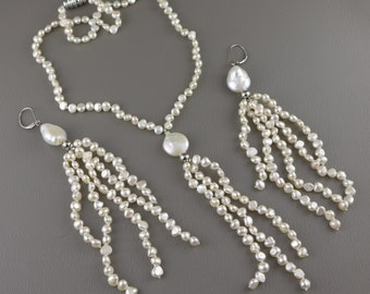 Freshwater Pearl Necklace Earring Set, Vintage Hand Knotted Freshwater Pearl Necklace And Earring Set